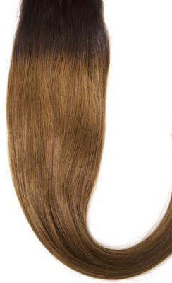 Ombre #2/#6 - Clip on extensions 65 cm - Europeisk hår - Kald blond #101