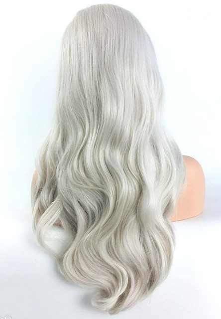 Lace front parykk - Syntetisk - Ice blonde